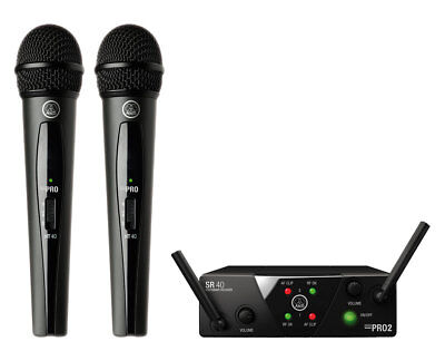 AKG WMS40 Mini Dual Vocal Set Wireless Handheld Microphone System (Band A/C) • 159.61£