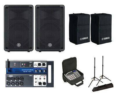 2x Yamaha DBR10 Active Speaker W/ Covers + Soundcraft Ui12 W/ Bag + Stands • 866.11£