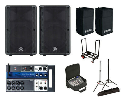 2x Yamaha DBR12 Active Speaker W/ Covers + Soundcraft Ui12 W/ Bag +Stands +Cart • 1,084.66£
