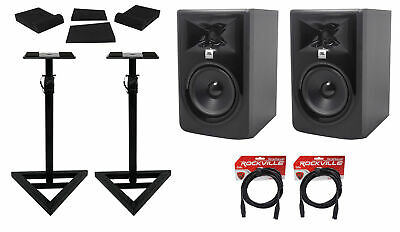 (2) JBL 305P MkII 5  Powered Studio Reference Monitors+Stands+Pads+XLR Cables • 253.84£