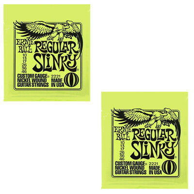 Ernie Ball Guitar Strings 2-Packs Electric Regular Slinky 2221 10-46 • 12.64£