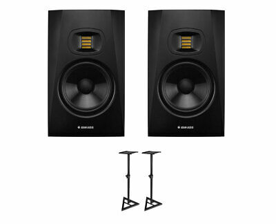 2x ADAM T7V Active Studio Monitor Powered Speaker + Ultimate Support Stands • 397£