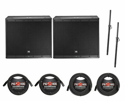 2x JBL EON618S 1000W Powered Subwoofer 18  Active Subwoofer + Poles + Cables • 1,409.91£
