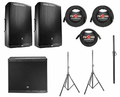 2x JBL EON615 1000 Watt Powered Active Speaker+JBL EON618S+Pole+Stands+Cables • 1,585.48£