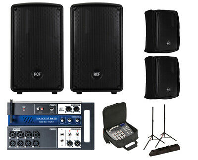 2x RCF HD 10-A MK4 Active Speaker W/ Covers + Soundcraft Ui12 W/ Bag + Stands • 863.31£