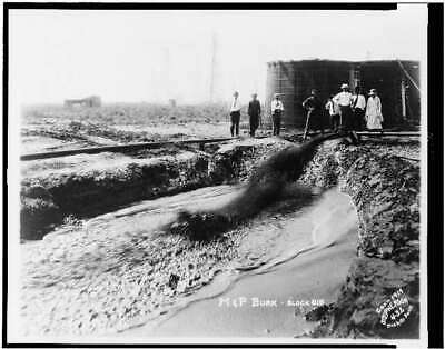 M. & P. Burk,block 818,Oil From Pipe To Hole In Ground,c1919,Oil Well,Texa 1893 • 9£