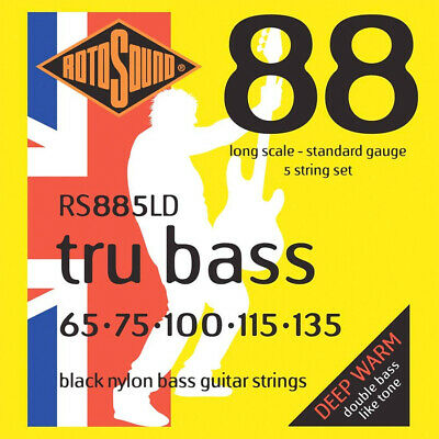Rotosound RS885LD  Black Nylon Flatwound 5 String Bass  Strings (65-135) , New! • 35.42£