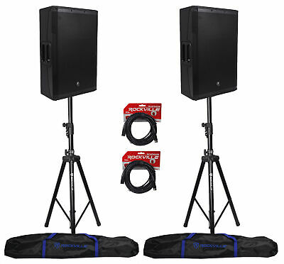 2) New Mackie SRM650 15  Powered PA Speakers+(2) Hydraulic Speaker Stands+Cables • 1,064.72£