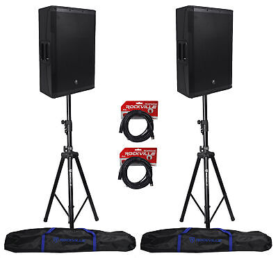 (2) Mackie SRM650 1600W 15  Active PA Speakers+Stands+Audio Technica ATM410 Mic • 1,114.39£