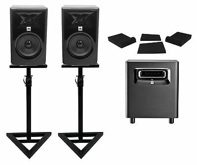 (2) JBL 306P MkII 6  Powered Studio Monitors+Stands+Pads+Powered Subwoofer Sub • 582.70£