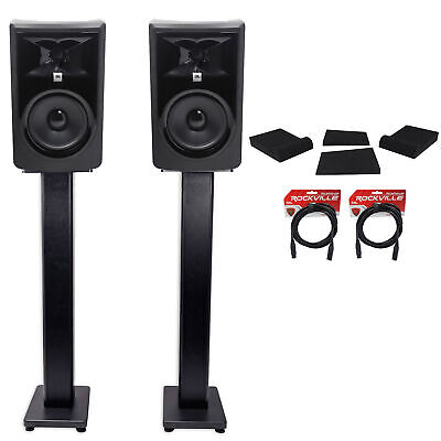 (2) JBL 306P MkII 6  Powered Studio Monitors+Stands+Isolation Pads+XLR Cables • 290.99£