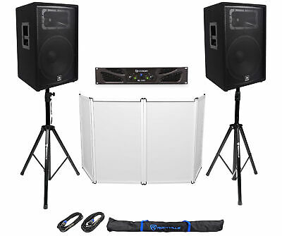 (2) JBL Pro JRX215 15  2000w PA/DJ Speakers+Amplifier+Stands+Cables+Facade • 717.07£