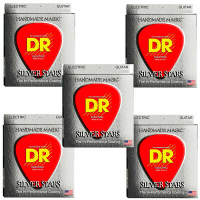 DR Guitar Strings Electric 5-Sets Silver Stars K3 High Performance Coated 10-46 • 36.84£