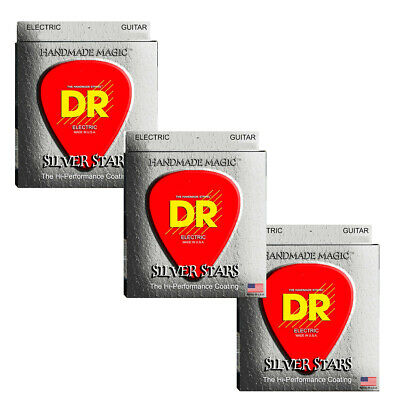 DR Guitar Strings Electric 3-Sets Silver Stars K3 High Performance Coated 10-46 • 23.57£