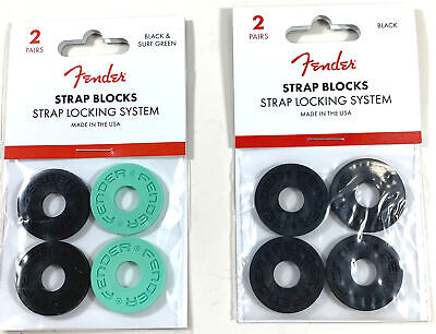 Fender Strap Blocks Strap Lock System Set Of 8 Easy Install 4-Seaphome 4-Black • 8.86£