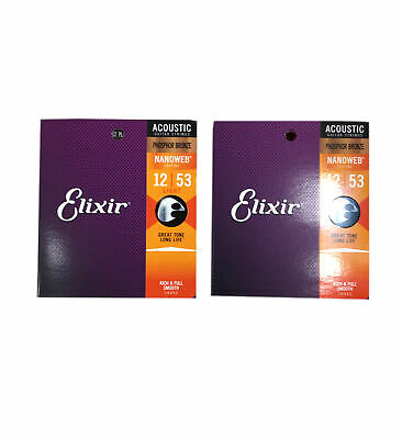 Elixir Guitar Strings 2-Pack Phosphor Bronze Nanoweb Light 12 - 53 • 32.98£