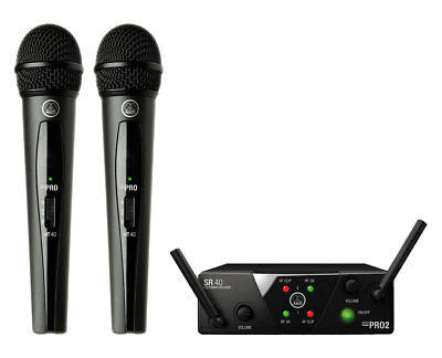 AKG WMS40 Mini Dual Vocal Set Wireless Handheld Microphone System (Band A/C) • 141.25£