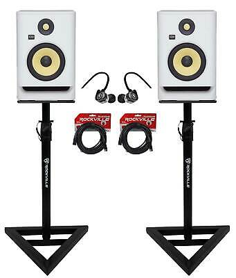 2) KRK RP7-G4 Rokit Powered 7  White Noise Studio Monitors+Stands+Cables+Earbuds • 390.65£