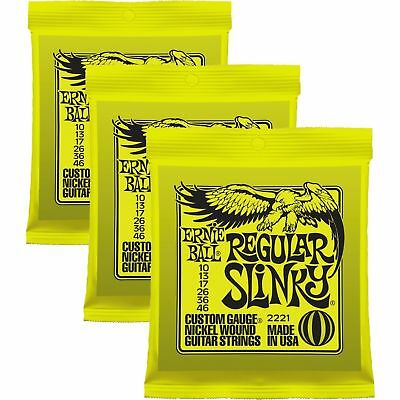 3 Sets - Ernie Ball 2221 Regular Slinky Electric Guitar Strings 10-46 • 16.63£
