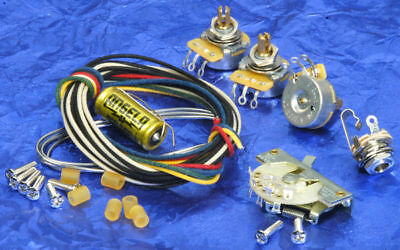 Fender Strat 5-Way Switch + Angela/Jensen PiO Cap Premium Wiring Kit Pots + Jack • 36.39£