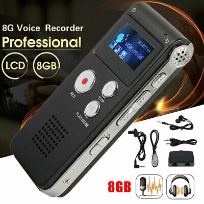 8GB Rechargeable Digital Audio/Sound/Voice Recorder Dictaphone MP3 Player USB UK • 20.99£
