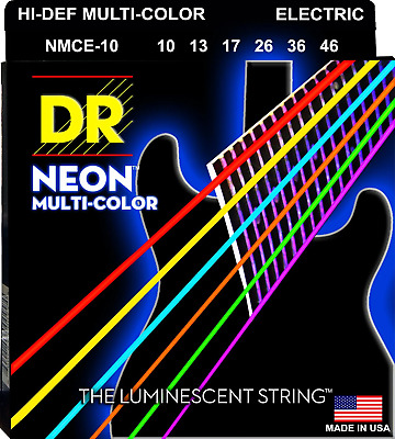 DR Strings Neon Multi-Coloured Colour Coated Electric Guitar Strings 10-46