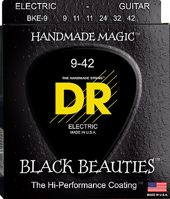 DR Black Beauties Colour Coated Electric Guitar Strings 9-42