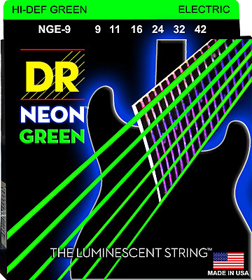 DR Neon Green Colour Coated Electric Guitar Strings 9-42