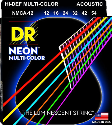 DR Strings Neon Multi-Coloured Colour Coated Acoustic Guitar Strings 12-54