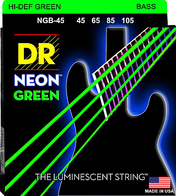 DR Neon Green Colour Coated Bass Guitar Strings 45-105