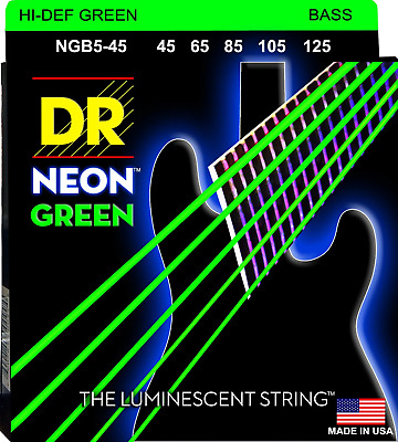 DR Neon Green Colour Coated Bass Guitar 5-Strings 45-125
