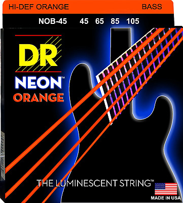 DR Neon Orange Colour Coated Bass Guitar Strings 45-105