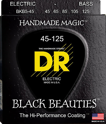 DR Black Beauties Colour Coated Bass Guitar 5-Strings 45-125