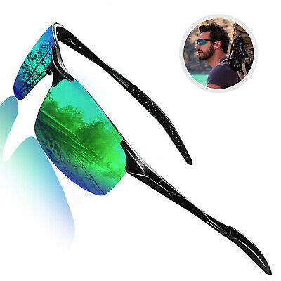 Men's Polarized Sunglasses UV Protection Al-Mg Metal Frame Ultra Light Men UK • 10.99£