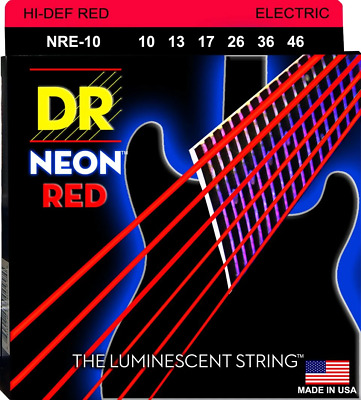 DR Neon Red Colour Coated Electric Guitar Strings 10-46