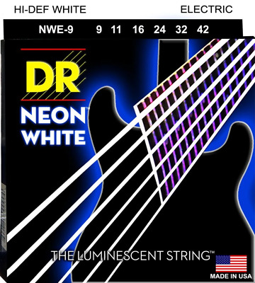 DR Neon White Colour Coated Electric Guitar Strings 9-42