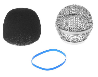 Replacement Ball Head Steel Mesh Foam Microphone Grille Fits Shure Beta 58A • 9.95£