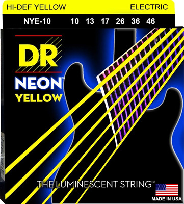 DR Neon Yellow Colour Coated Electric Guitar Strings 10-46