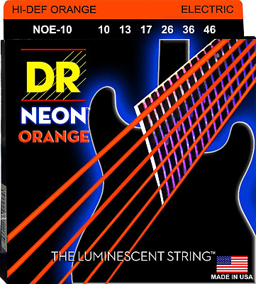 DR Neon Orange Colour Coated Electric Guitar Strings 10-46