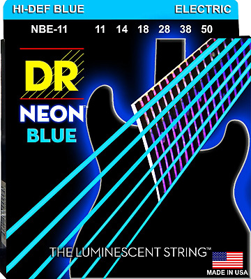 DR Neon Blue Colour Coated Electric Guitar Strings 11-50