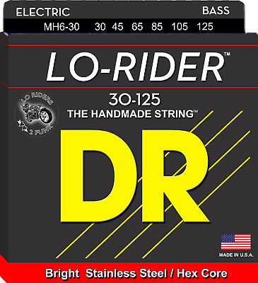 DR Strings Lo-Rider Bass Guitar 6-String 30-125