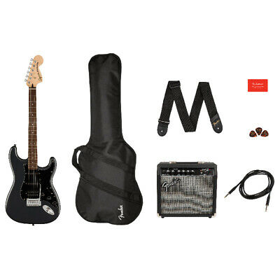 Fender Squier Affinity Stratocaster HSS Pack, Charcoal Frost Metallic (NEW)
