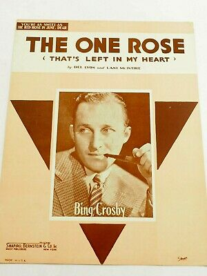 The One Rose(That left in My Heart) Bing Crosby Cover Sheet Music 1936