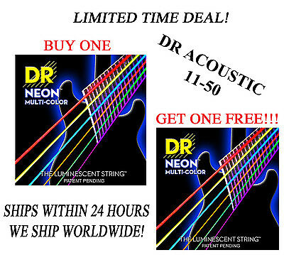**dr Hi-def Neon Multi-color Acoustic Guitar Strings (11-50) -- Coated Strings** • 10.40£