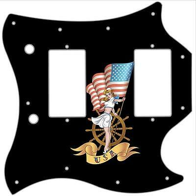 SG Standard Pickguard Custom Gibson Graphic Graphical Guitar Pin Up Patriot BK