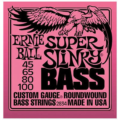 Ernie Ball 2834 Super Slinky Nickel Wound Electric Bass Strings (45-100) • 12.75£