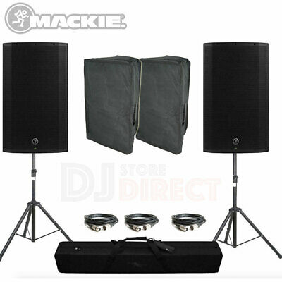 Mackie Thump15A Speakers V4 Active Powered 2600W Bundle Party Stands Covers • 659£