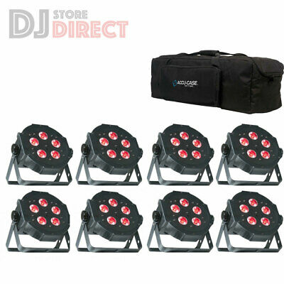 8X ADJ MEGA TRI-PAR PROFILE PLUS LED Multi Colour Beam Cans + CARRY BAG + 8X DMX • 549£
