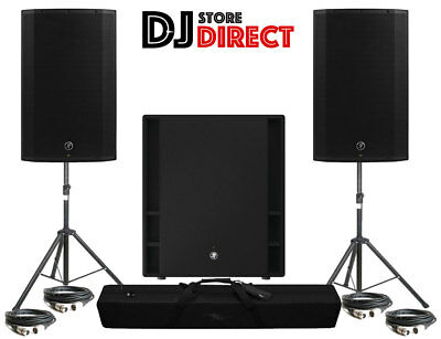 2X MACKIE THUMP 12A Active Powered DJ Speakers + THUMP 18S SUB + Stands + 4 XLRs • 1,179£