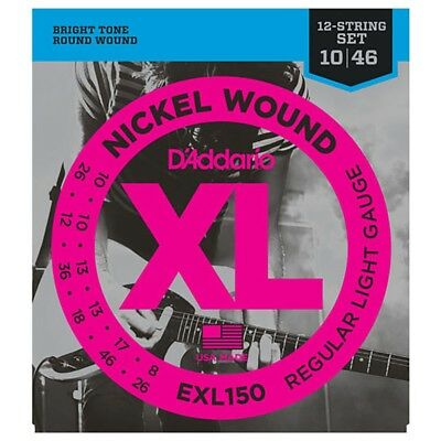 D'Addario EXL150 Nickel Wound 12-String Electric Guitar Strings, Light (10-46) • 6.87£